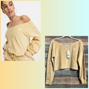 Adidas Size Small Yellow Velour Off Shoulder Cropped Top NWT